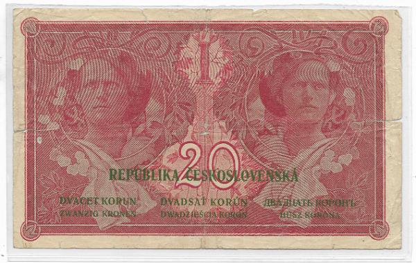 20 Korun 15.4.1919 Pi.Nr.9 gebraucht