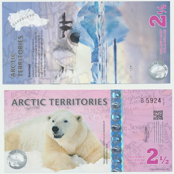 Sovenierschein 2 1/2 Dollars Polar Bär2013 Unc
