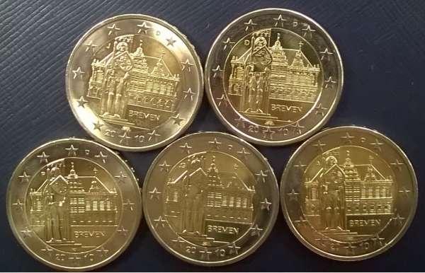 2 Euro Deutschland Bremen 2010 alle 5 Prägestätten