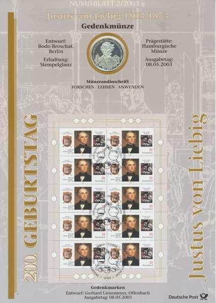 """Numisblatt Deutschland 2003/2 """"Justus von Liebig 1808-1873"""" mit 10€ Silbermünze Gedenkmünze"""