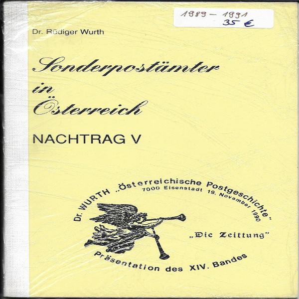 Sonderpostämter in Österreich Nachtrag 5 Dr.Würth Sonderstempelkatalog 1989-91