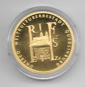 100 Euro 2003 Quedlinburg Gold Gedenkmünze Münzzeichen G Deutschland