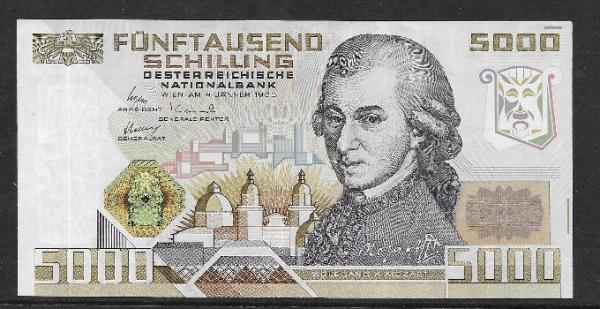 5000 Schilling 1988 Wolfgang Amadeus Mozart Erh.1 unc, B 350433 D Ank.Nr. 290 Pick 153