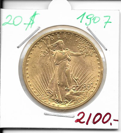 20 Dollar 1907 USA Gold $20, Double Eagle St. Gaudens U.S. Mint