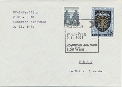Erstflug Aua DC-9 Wien - Prag 2.11.1971