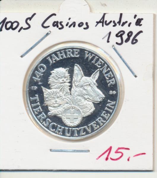 Casino Sonderjeton 100 Schilling 140 Jahre Wiener Tierschutzverein 1986 Casinos Austria Silber