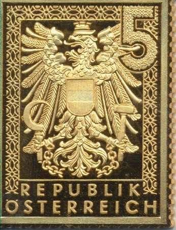 Collection Magna Austria Silber Österreich 5RM Wappenzeichnung russ.Besatzungszone 1945 24 Karat Ve