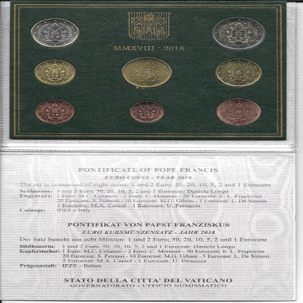 Euro Kursmünzensatz Vatikan 2018 KMS Coinset