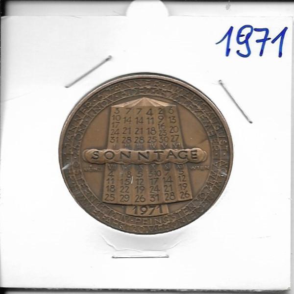 Kalendermedaille Jahresregent 1971 Bronze