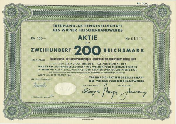 Aktie Wiener Fleischerhandwerk 200 Reichsmark 1944