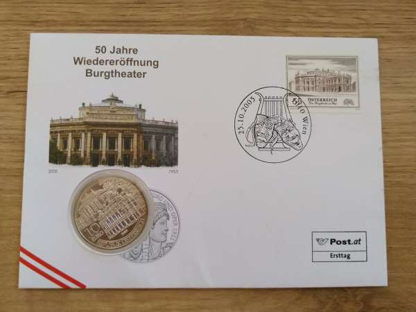 NBE 4) 2005 50 Jahre Wiedereröffnung Burgtheater Numisbrief mit 10 Euro Silber