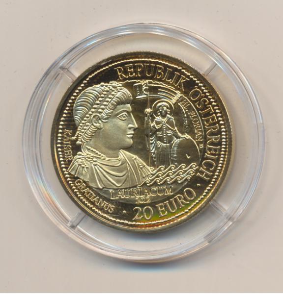20 EURO Silber 2012 Lauriacum Rom an der Donau 24 Karat Vergoldet