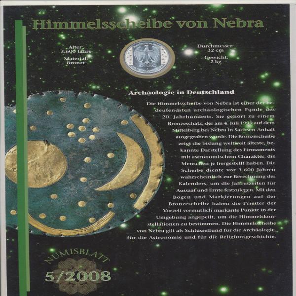 """Numisblatt Deutschland 5/2008 """"Himmelsscheibe von Nebra"""" mit 10-€-Silbermünze"""