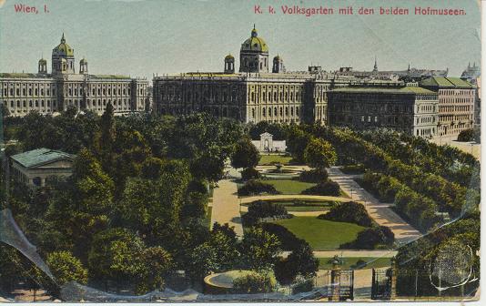 K.K.Volksgarten mit den beiden Hofmuseen Wien I