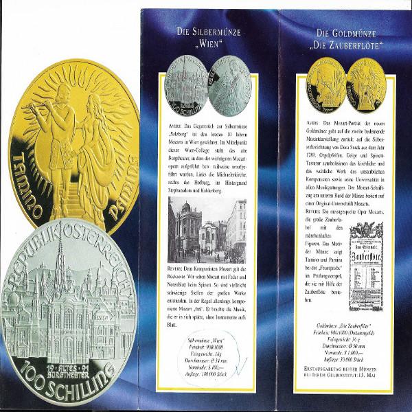 Die Mozartserie 1000 +100 Schilling Gold+Silber 1991 - nur Flyer Folder