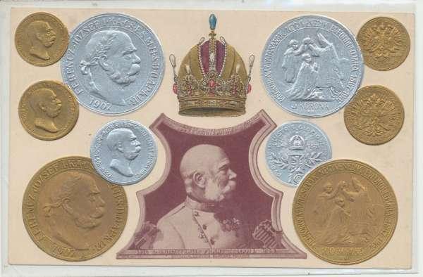60 Jahre Jubiläum Kaiser Franz Josef I Münzen Präge-Tiefdruck 1908