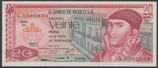 Mexiko- 20 Pesos 1977 UNC - Pick 64