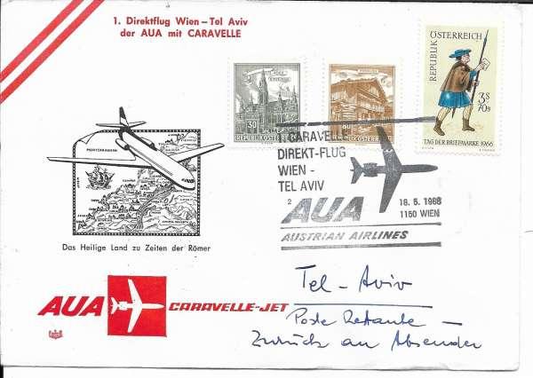 1 Caravelle Direktflug AUA Wien-Tel Aviv 18.05.1968