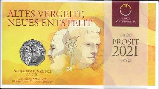 5 Euro 2020 SILBERMÜNZE NEUJAHRSMÜNZE 2021 JANUS