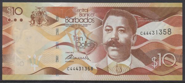 Barbados -10 Dollars 2013 UNC - Pick 75