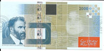 Gustav Klimt 2000 ohne Spirale Austria OEBS0027183 UNC Original