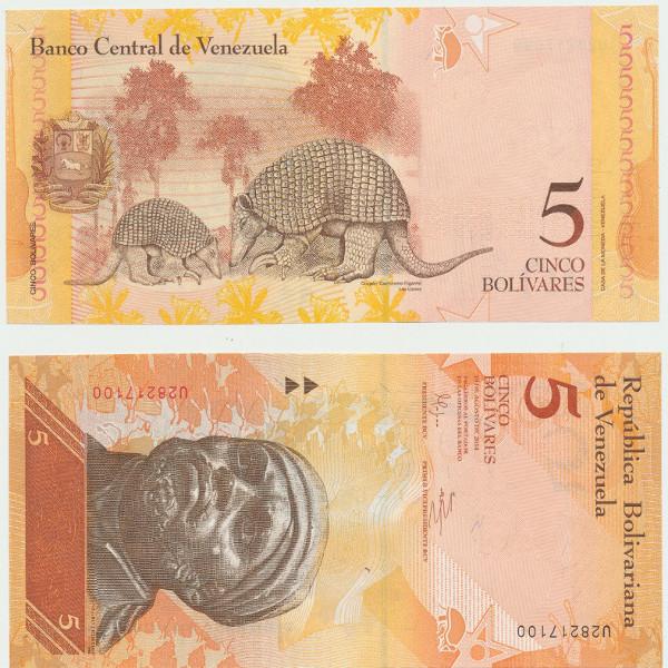 Venezuela – 5 Bolivares 19.08.2014, (P.) Erh. UNC