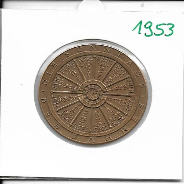 Kalendermedaille Jahresregent 1953 Bronze