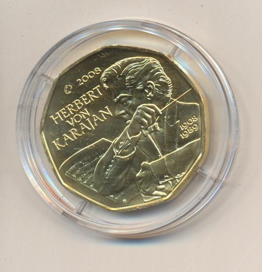 ANK Nr.13 24 Karat vergoldet 2008 100 Geburtstag Herbert von Karajan 5 Euro Silber