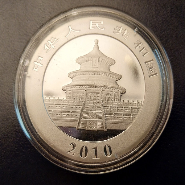 China 10 Yuan 2010 Panda 31,1g Silber