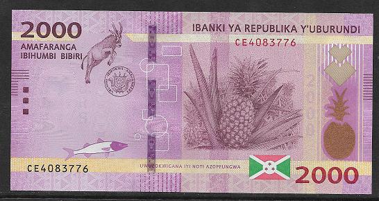 Burundi- 2000 Francs 2018 UNC - Pick new