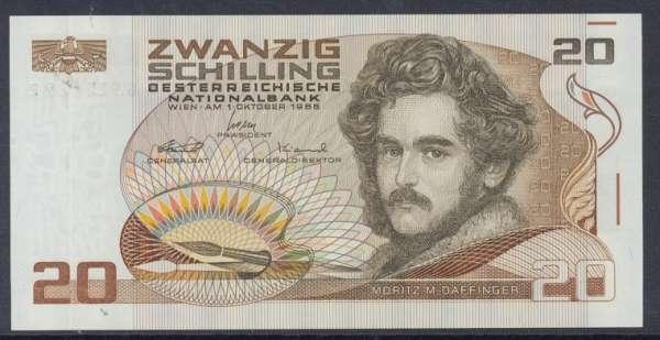 20 Schilling 1986 Moritz M. Daffinger Bankfrisch Ank. Nr. 289 G921129Z Pick 148