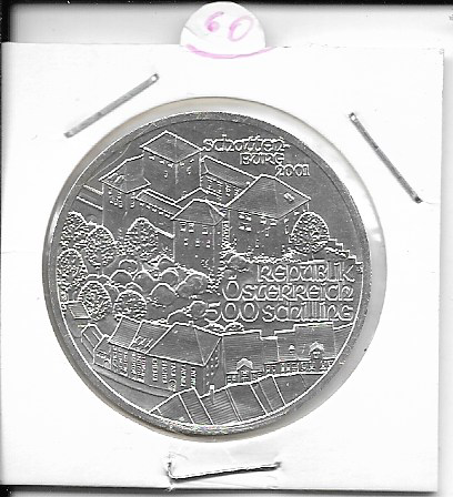 ANK Nr. 60 Schattenburg 2001 500 Schilling Silber-Normal