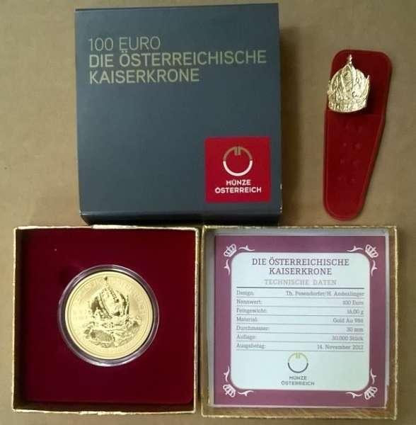 2012 - 100 Euro Gold Die Österreichische Kaiserkrone (2012) ohne Schleife