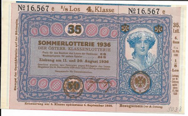 Donaustaat Noten 50 Kronen mit Lotterieaufdruck 4.Klasse 1936 ANK195