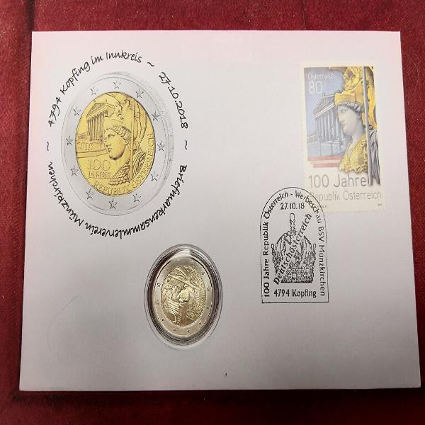 NBE 31b) 100 Jahre Republik Österreich mit 2 Euro Münze