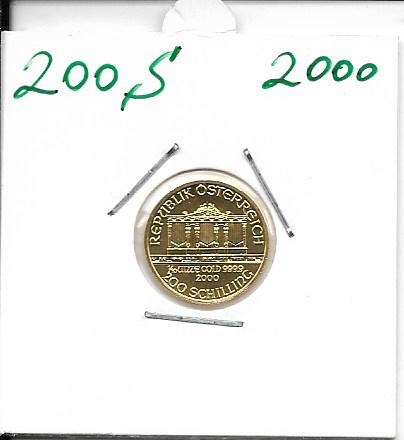2000 Philharmoniker 1/10 Unze 200 Schilling ATS 3,11 Gramm