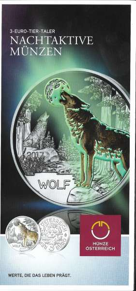 ANK Nr. 05 Flyer FOLDER ZU DER 3 EURO MÜNZE Tiertaler Wolf 2017