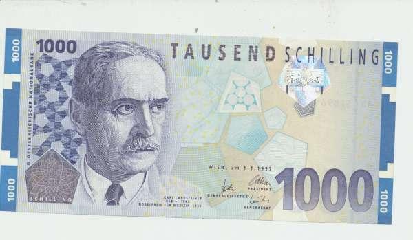 Pick 152 1000 Schilling 1.1.1997 Karl Landsteiner Ank.292 Erh. 1unc. NR: AD 431896 F