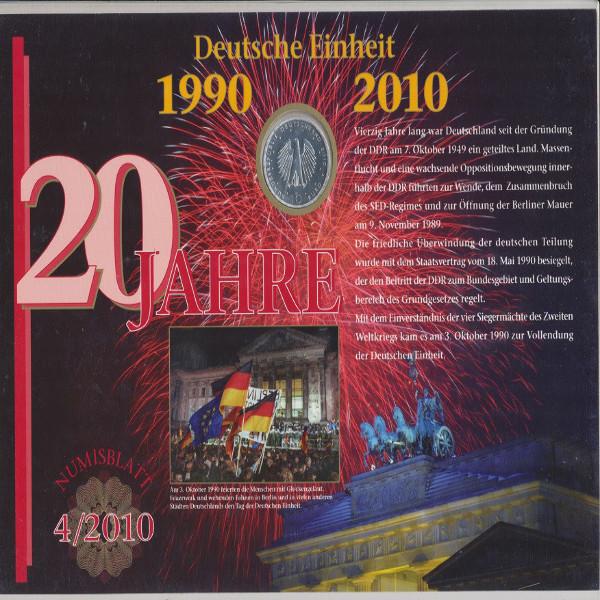 """Numisblatt Deutschland 4/2010 """"20 Jahre Deutsche Einheit"""" mit 10-€-Silbermünze"""