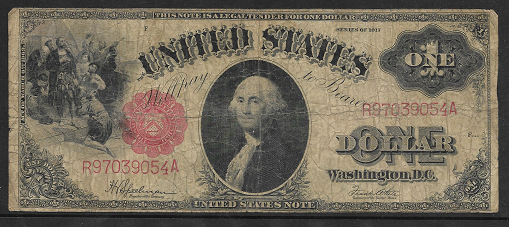 USA 1 Dollar 1917 Banknote Large Size US Rotes Siegel Schein R97039054A
