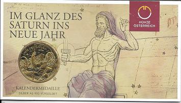 2014 Kalendermedaille Jahresregent Silber vergoldet Blister