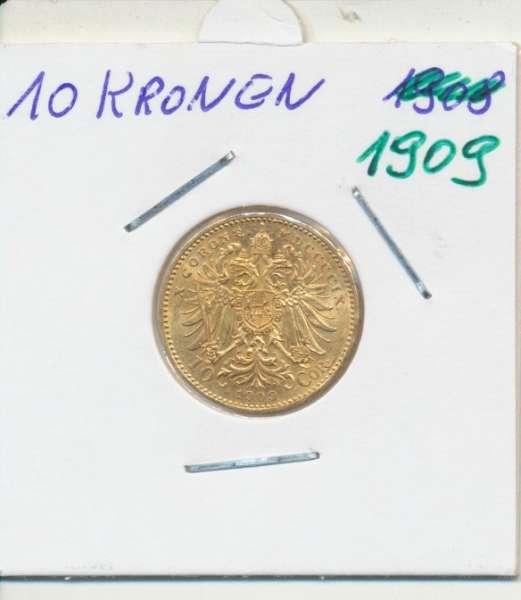 10 Kronen 1909 Franz Joseph I Gold ohne St.Schwartz