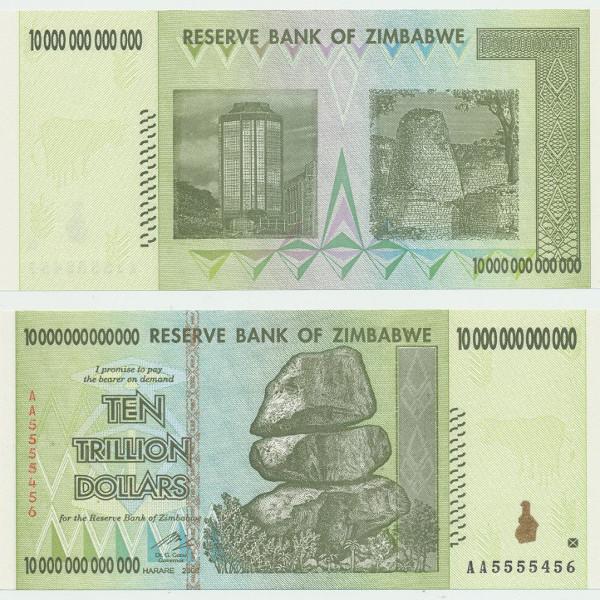 SIMBABWE / ZIMBABWE – 10 Trillion Dollars 2008 UNC P. 88