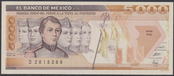 Mexiko- 5000 Pesos 1989 UNC - Pick 88