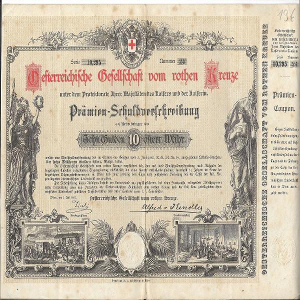 Österreichische Gesellschaft vom roten Kreuze 10 Gulden 1882 Schuldverschreibung