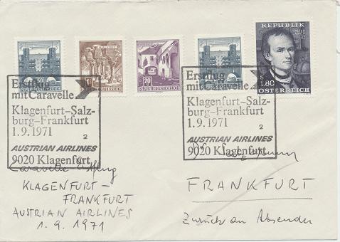 Caravelle Erstflug Aua Klagenfurt- Salzburg - Frankfurt 1.9.1971