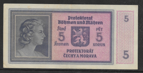 Protektorat Böhmen und Mähren 5 Korun Serie h 029