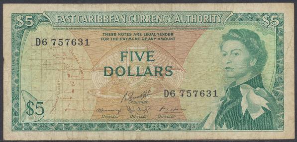 Eastern Caribbean – 5 Dollars (1965) (Pick 14) Erh. Gebraucht