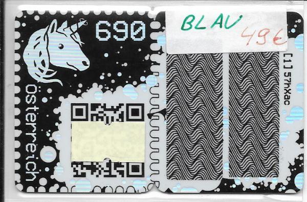 Österreich ANK Crypto Stamp - Blue Edition Blau/ first crypto stamp edition 6 stellig - Postfrisch