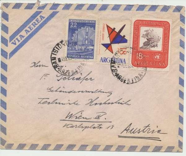 Flugpost Brief Argentinien St.Isidro - Wien 1964